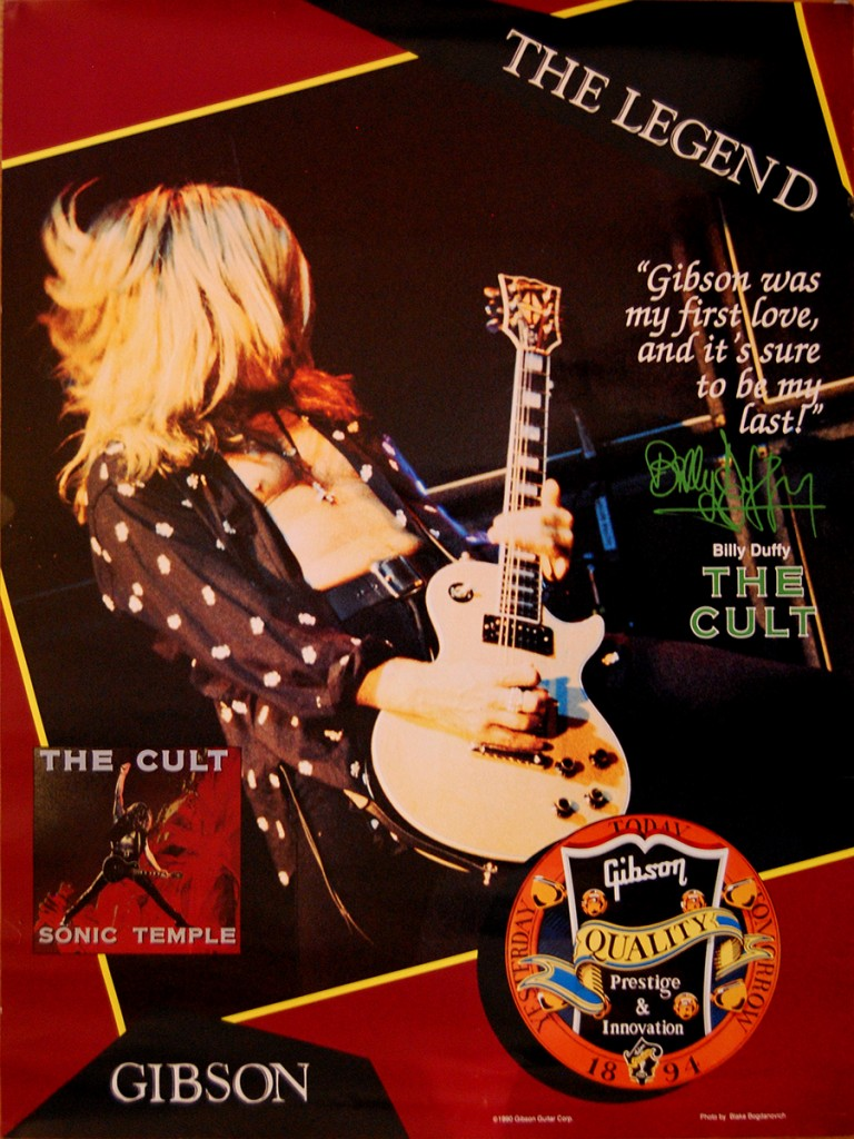 Billy Duffy Gibson Les Paul Poster - 1990