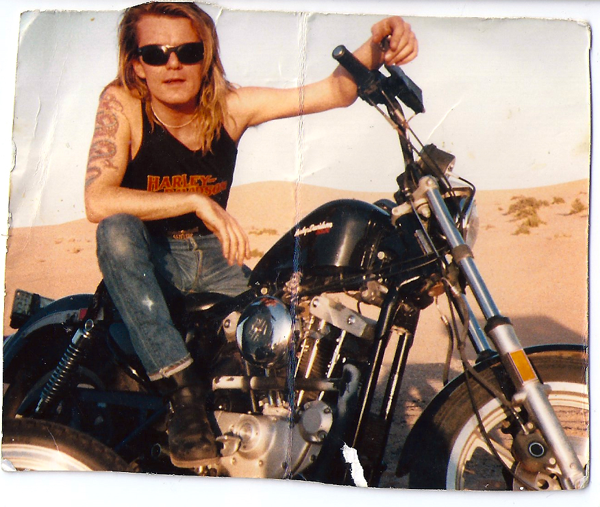 Billy Duffy on a Harley Davidson at Glamis Dunes, California 1988