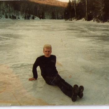 Billy taking a break from recording in Canada, 1985
