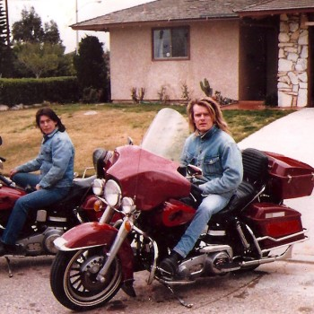 Billy on his new Harley in Los Angeles, Feb 1988
