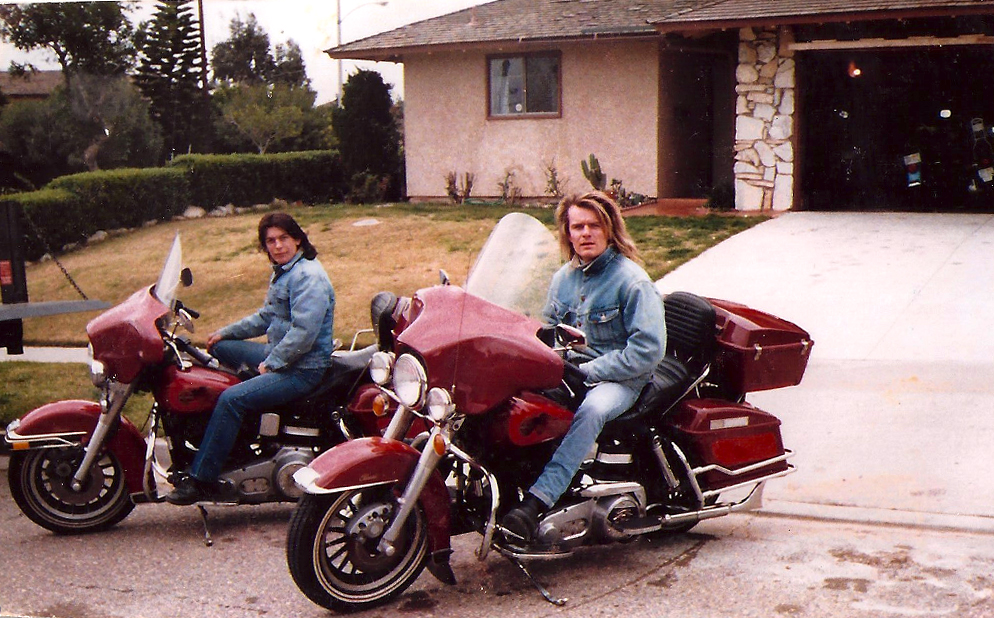 Billy Duffy on his new Harley Davidson in Los Angeles, Feb 1988