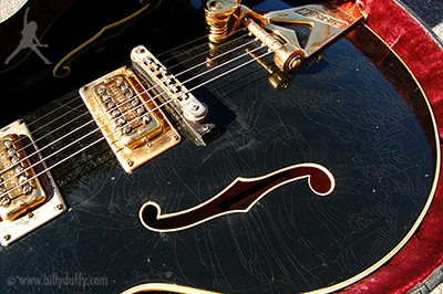 Billy's Gretsch Country Club showing cracked lacquer