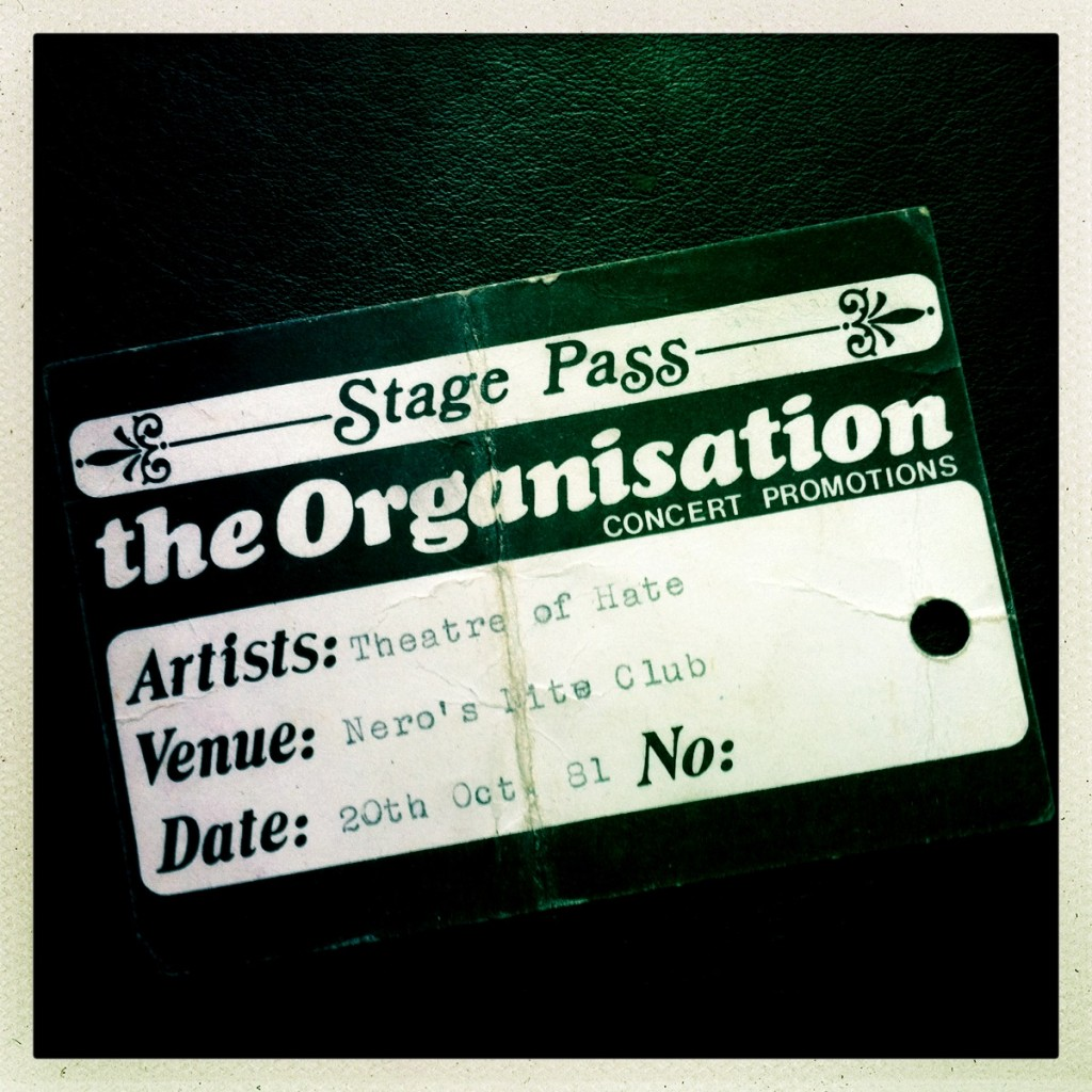 Billy Duffy's Stage Pass - Theatre of Hate 20-10-1981