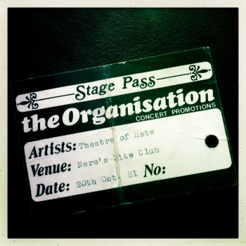 Billy's Stage Pass – Theatre of Hate 20-10-1981