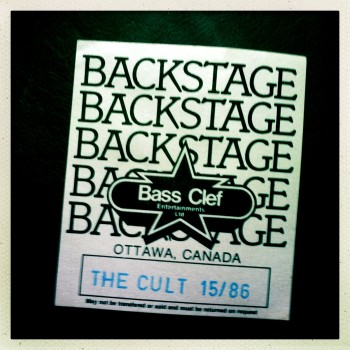 Backstage pass The Cult 15-03-1986