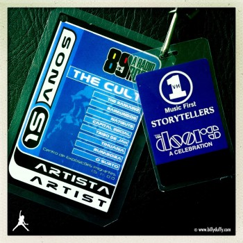 Billy's laminates for The Cult on Doors Storytellers Show -2000
