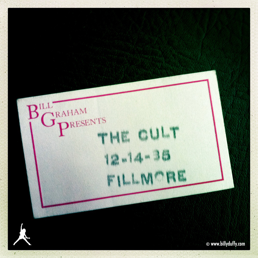 Pass for The Cult at The Fillmore, San Francisco, 14-12-1985