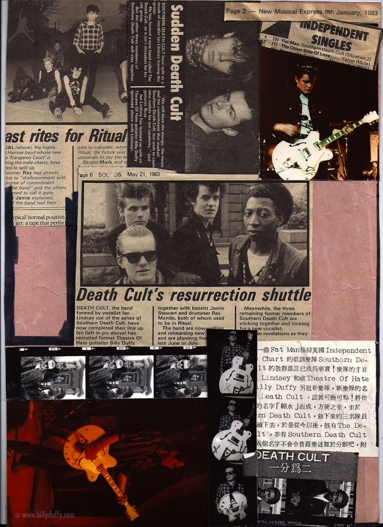Billy Duffy's Death Cult Scrap Book Page