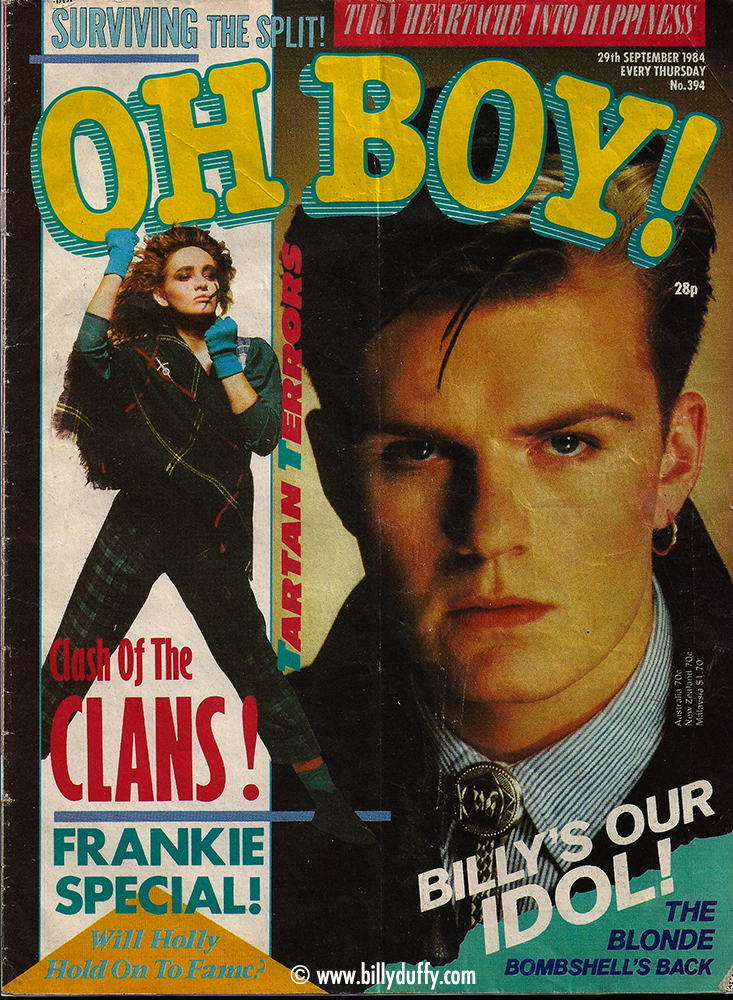Billy on the cover of Oh Boy Magazine - 1984