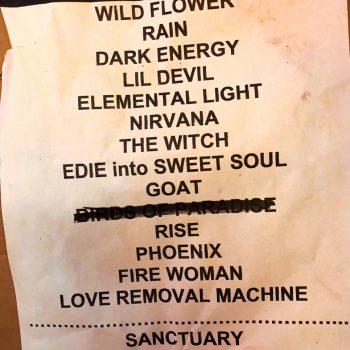 The Cult Set list 14-07-2018