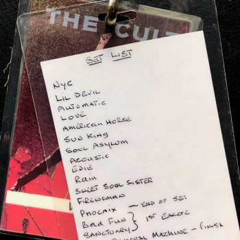 The Cult 'Sonic Temple' Tour Laminate Setlist – 1989