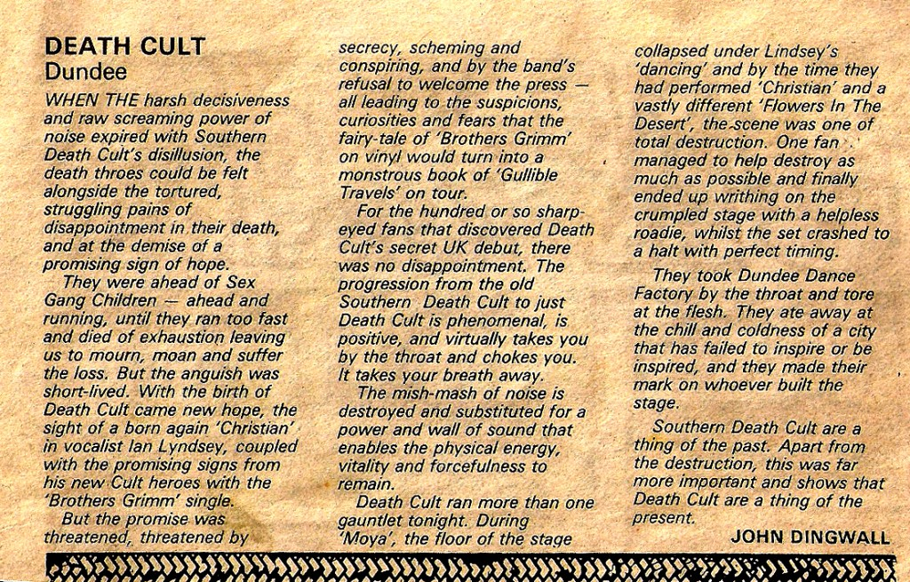 First ever Death Cult gig review