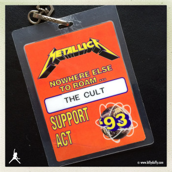 Billy's Laminate from The Cult with Metallica – 93