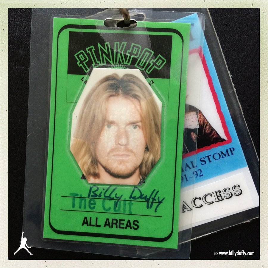 Billy Duffy's Photo Laminate pass from The Cult's headline show at Pinkpop Festival