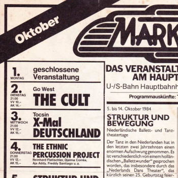Flyer for The Cult at Markthalle – October 1984
