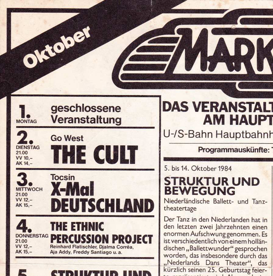 Flyer for The Cult at Markthalle - October 1984