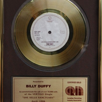 Billy's The Cult 'She Sells Sanctuary' Gold Disc