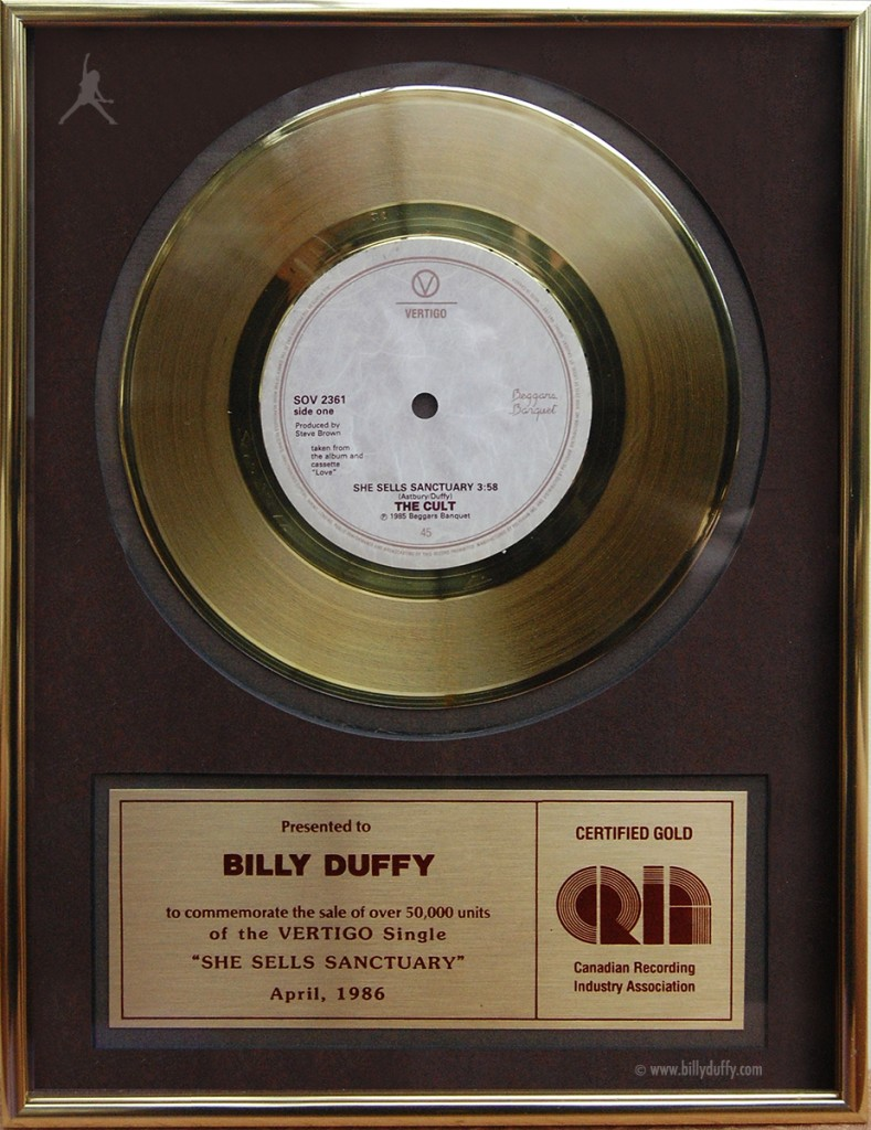 Billy Duffy's The Cult 'She Sells Sanctuary' Gold Disc