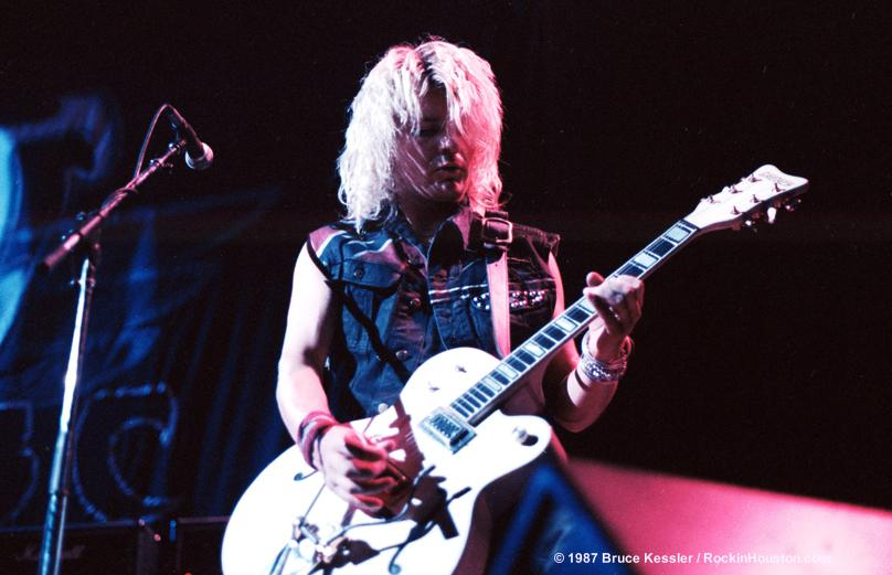 Billy Duffy with his White Falcon on the 'Electric' tour - 1987