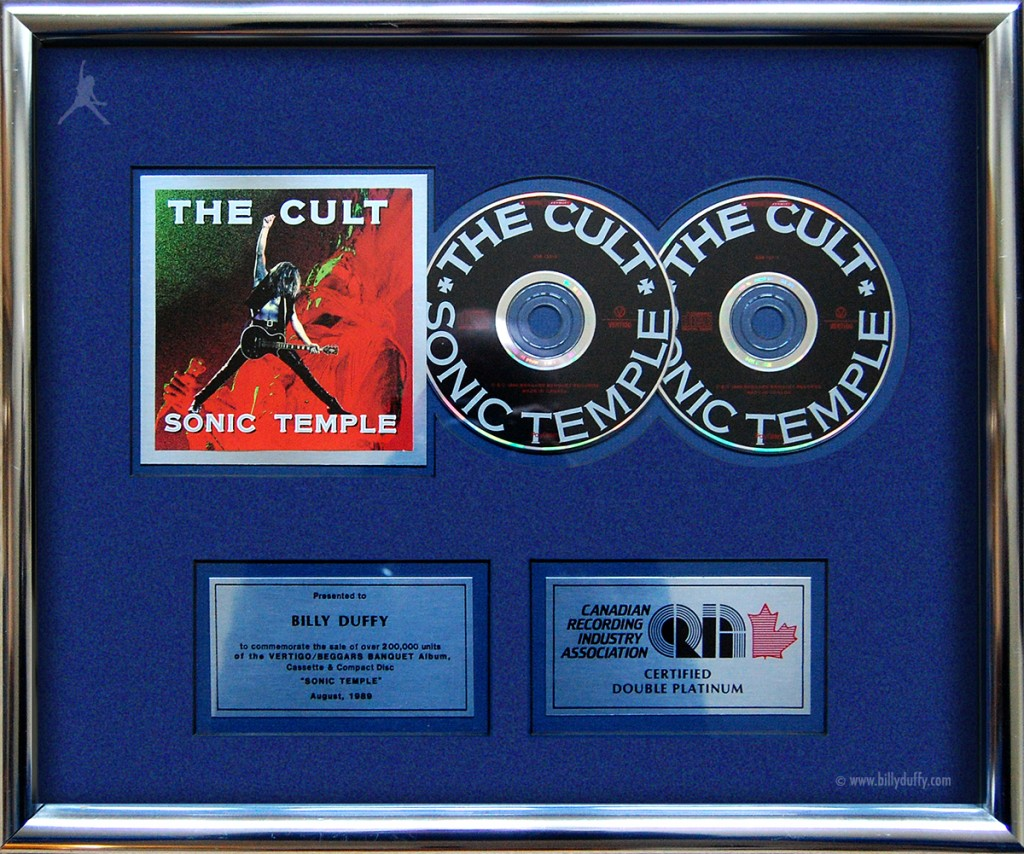 Billy Duffy's 'Sonic Temple' Double Platinum Disc