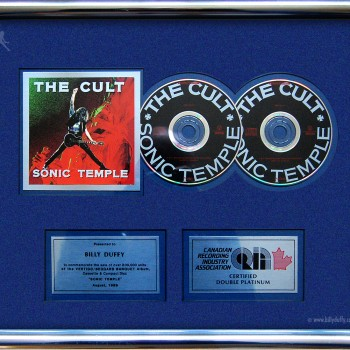 Billy's Canadian Double Platinum Disc for The Cult 'Sonic Temple'