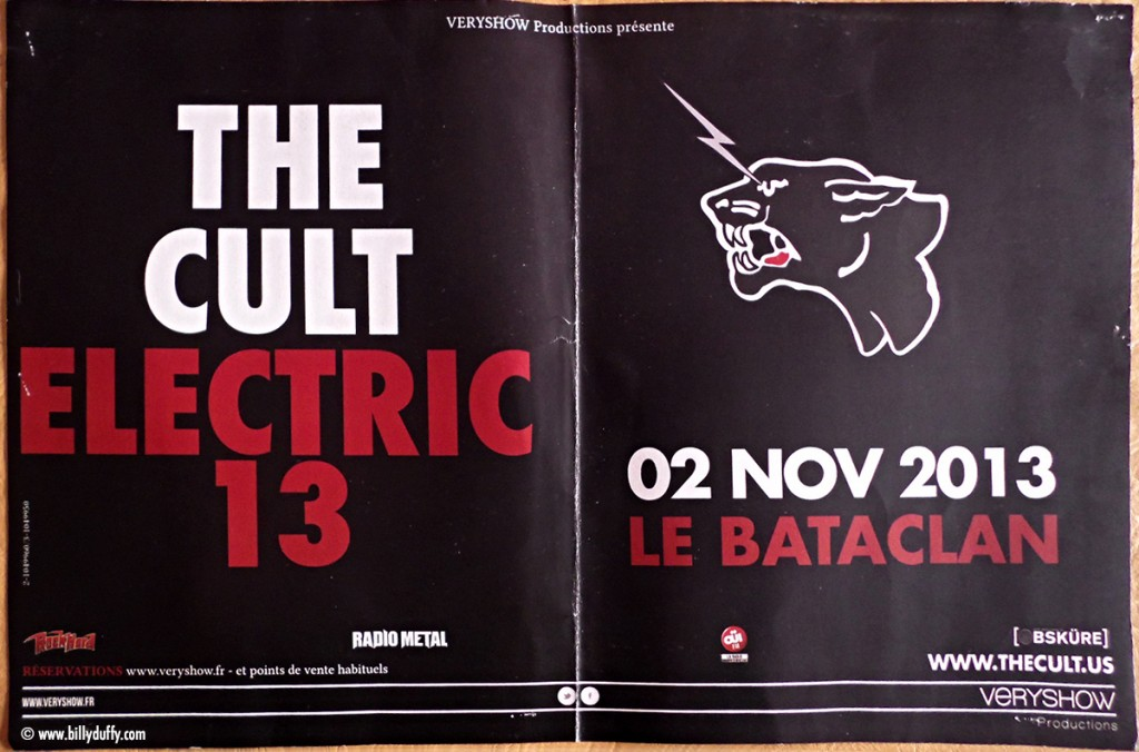 Poster for The Cult 'Electric 13' in Paris - 2013