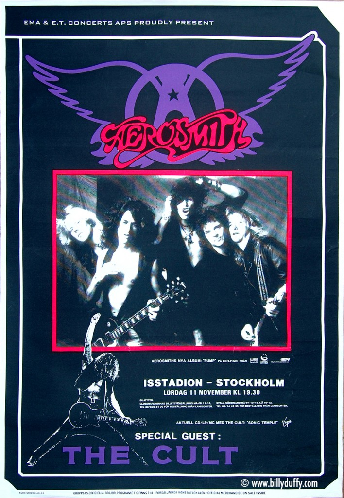 Aerosmith and The Cult Poster - Sweden 11-11-1989