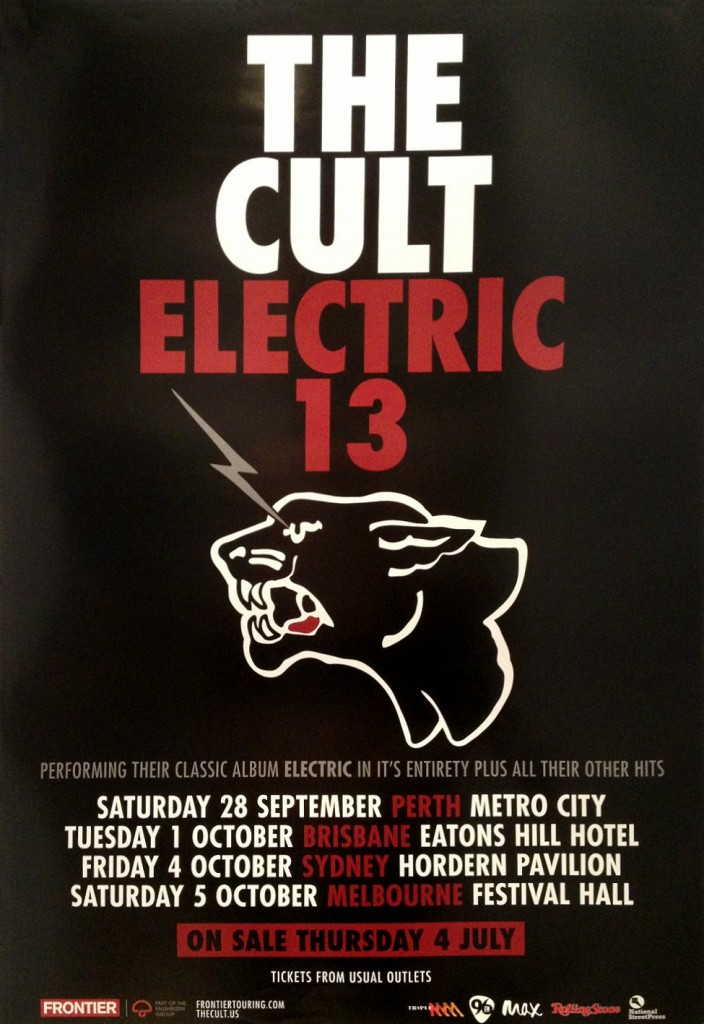 The Cult 'Electric 13' Australia Poster - 2013