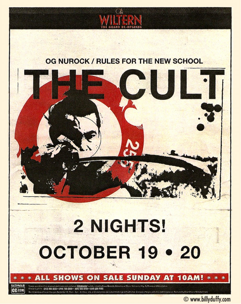 The Cult Poster - The Wiltern Theatre 19-10-2002