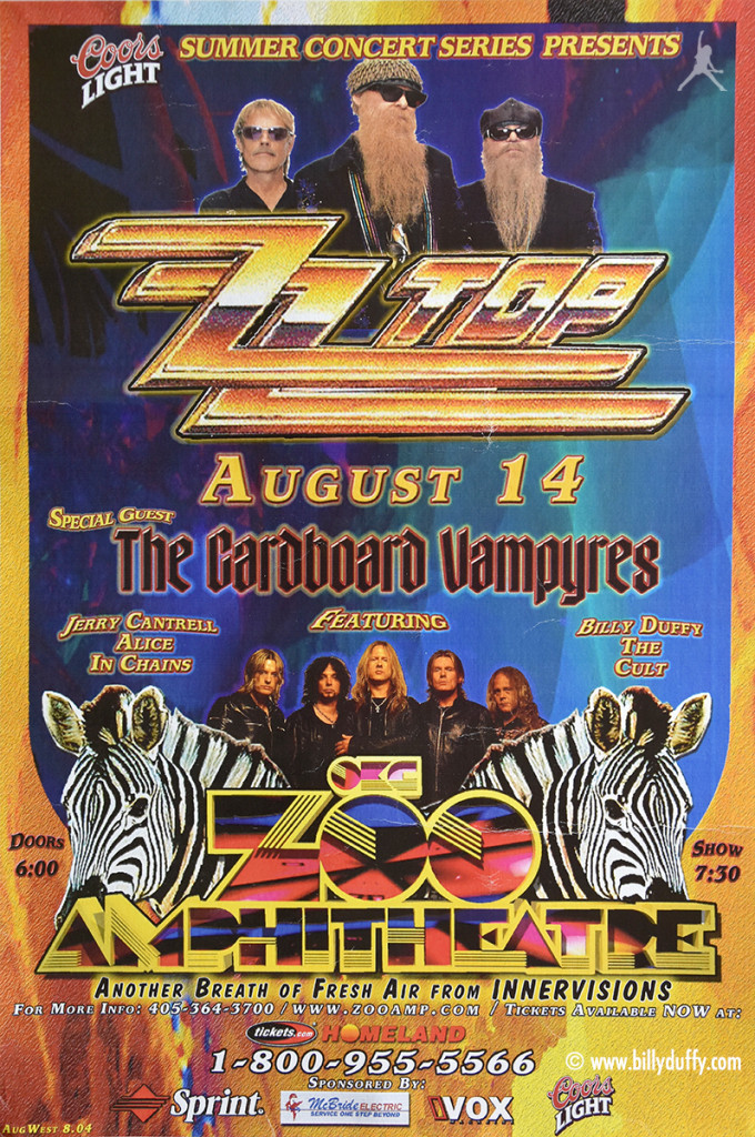 ZZ Top & Cardboard Vampyres Gig Poster 14-08-2004