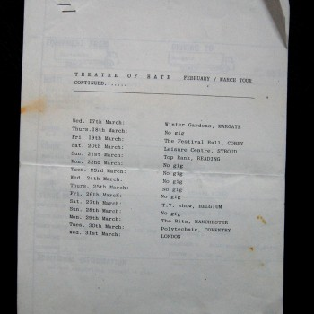 Billy's itinerary from Theatre of Hate Tour – 1982