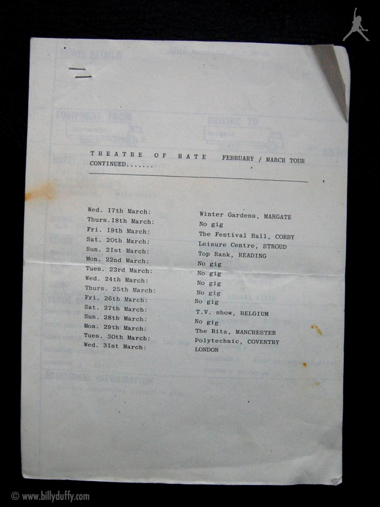 Billy's itinerary from Theatre of Hate Tour - 1982