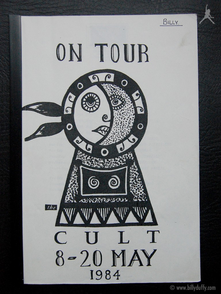 Billy's itinerary from The Cult UK Tour - 1984