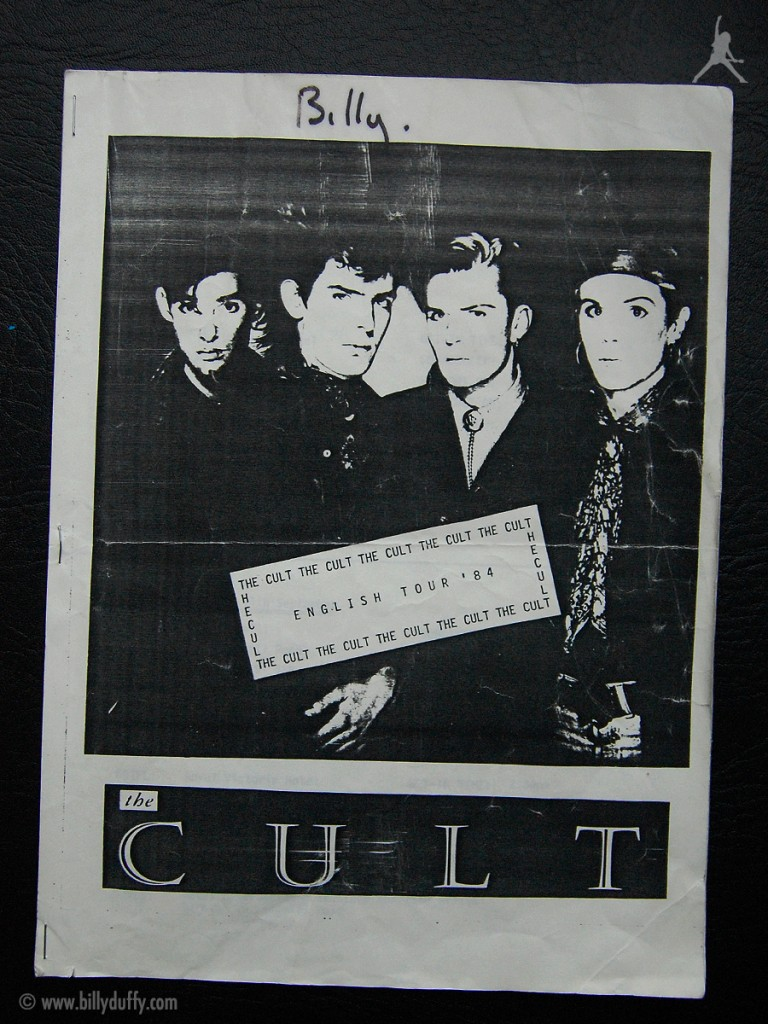 Billy's itinerary from The Cult 'Dreamtime' Tour - 1984