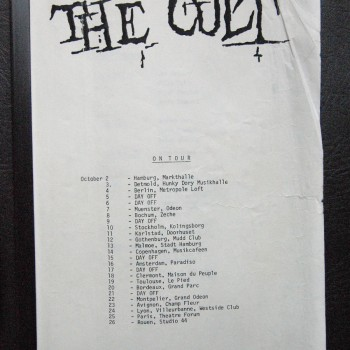 Billy's itinerary from The Cult Tour – 1984