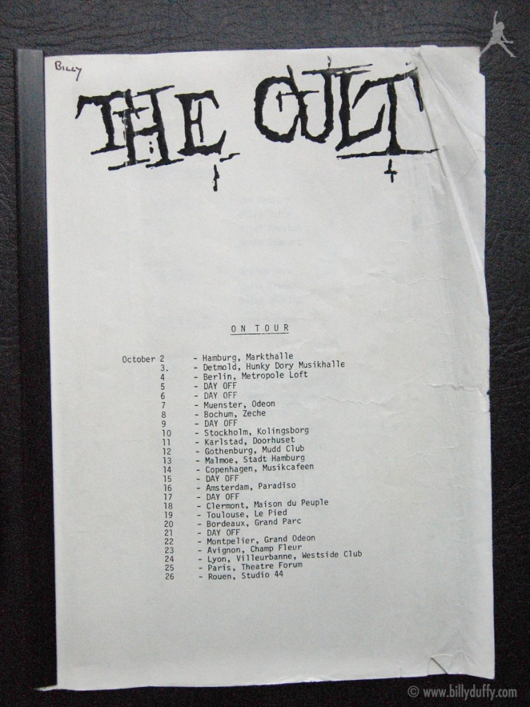 Billy Duffy's itinerary from The Cult Tour - 1984