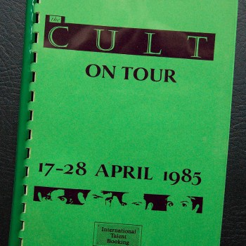 Billy's itinerary from The Cult 'Dreamtime' European Tour – 1985