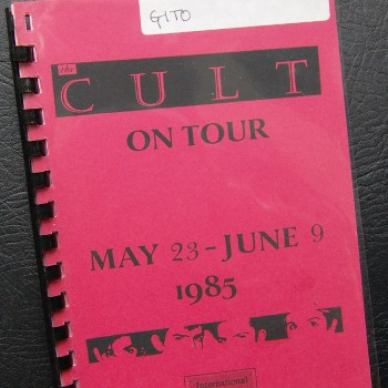 Billy's itinerary from The Cult 'Find Santuary' Tour – 1985