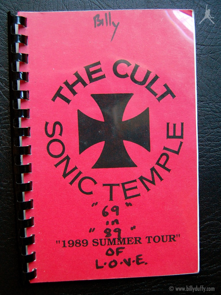 Billy Duffy's itinerary book from The Cult 'Sonic Temple' Tour - 1989