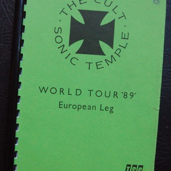 Billy's itinerary book from The Cult 'Sonic Temple' Tour – 1989