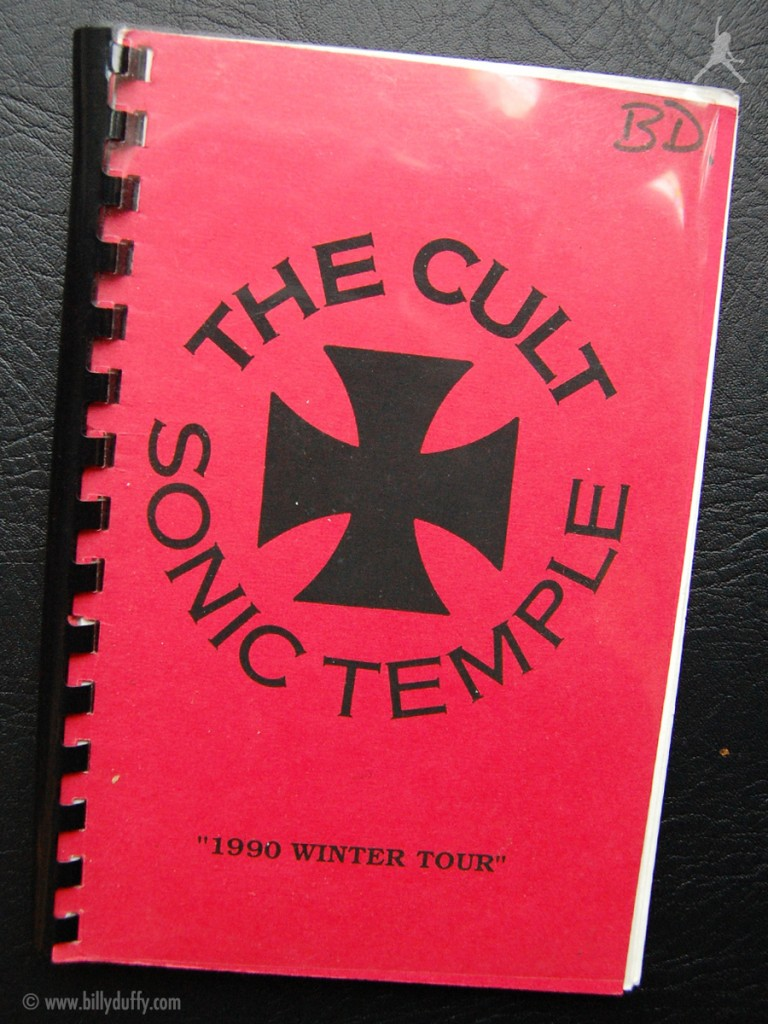 Billy's itinerary book from The Cult 'Sonic Temple' Tour - 1990