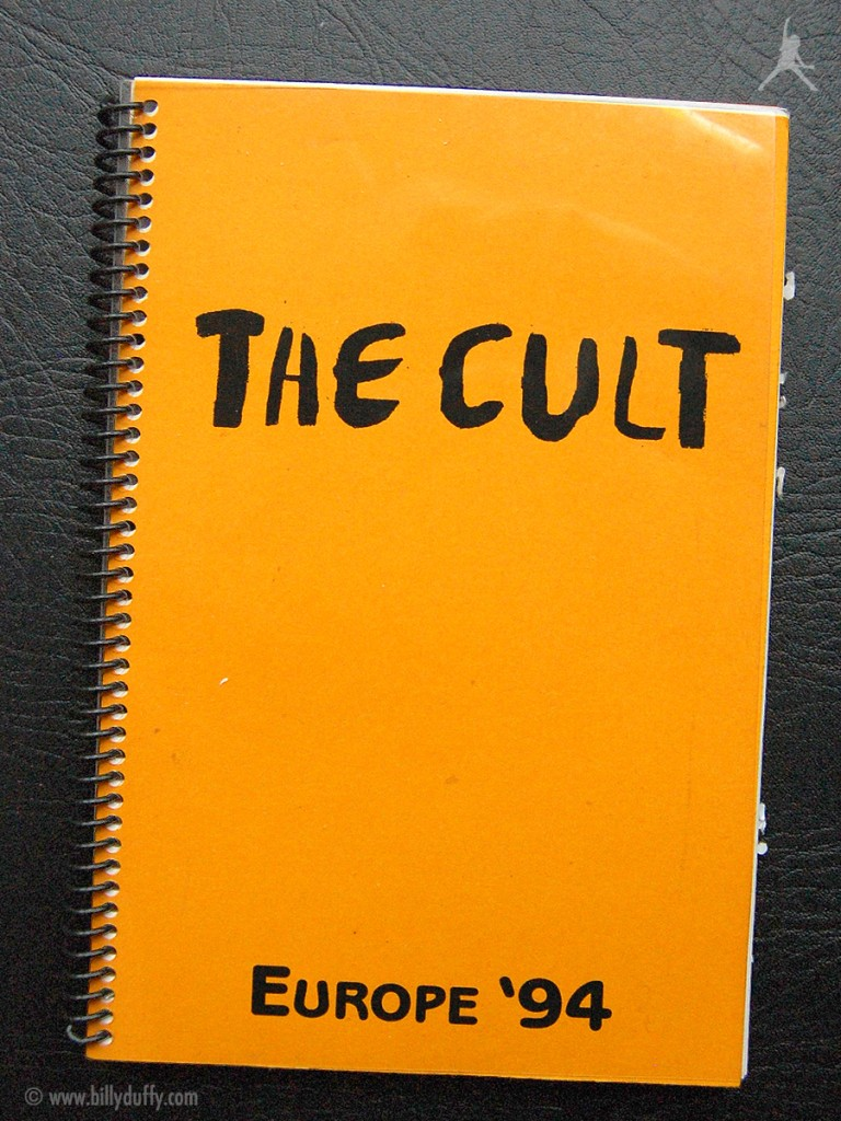 Billy's itinerary book from The Cult European tour - 1994