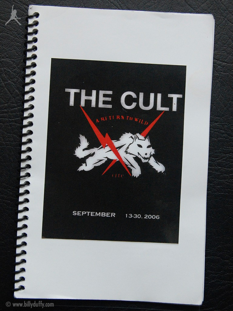 Billy Duffy's itinerary book from The Cult 'A Return To Wild' Tour - 2006
