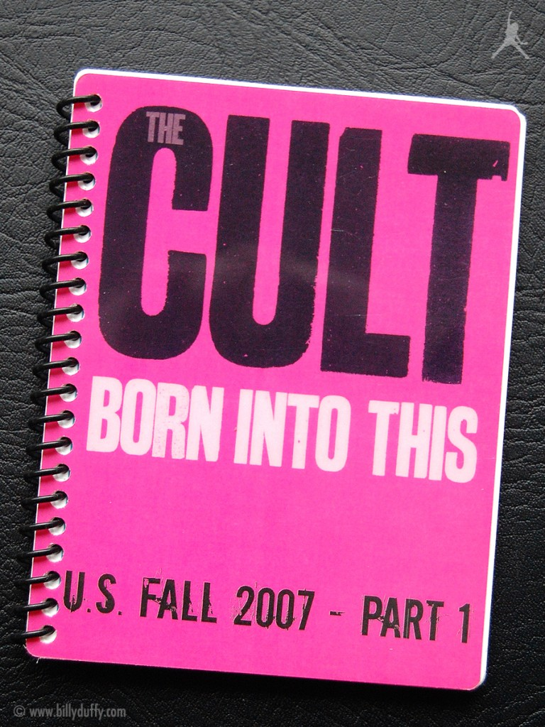 Billy Duffy's itinerary book from The Cult 'Born Into This' Tour - 2007