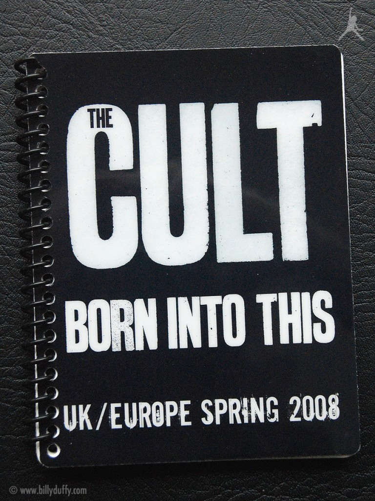 Billy Duffy's itinerary book from The Cult 'Born Into This' Tour - 2008