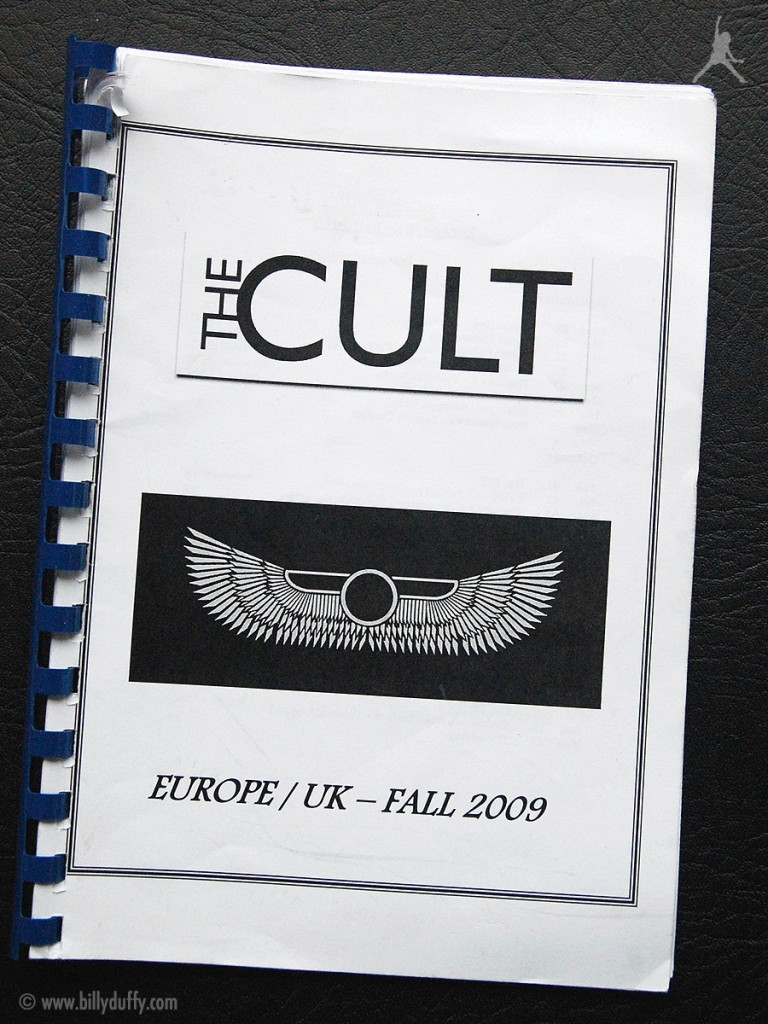 Billy Duffy's itinerary book from The Cult 'Love Live' Tour - 2009