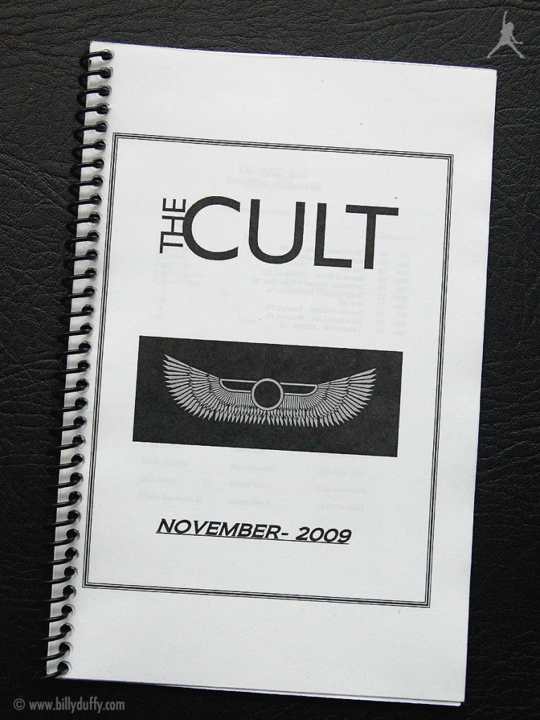 Billy's itinerary book from The Cult 'Love Live' Tour - 2009