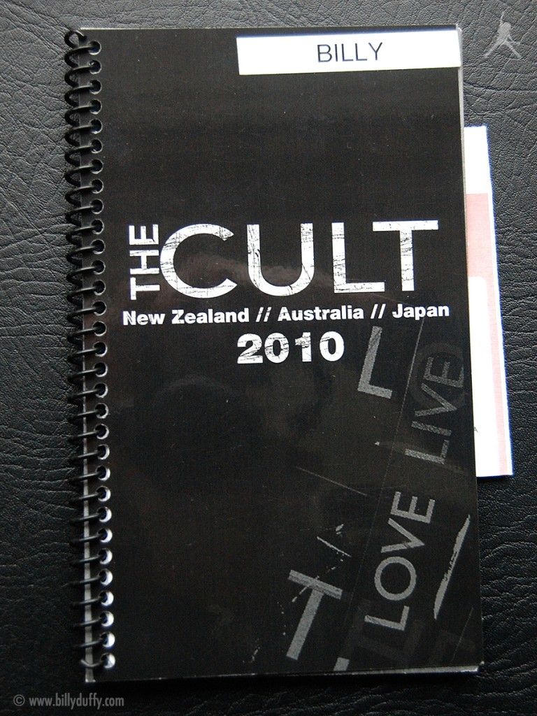 Billy Duffy's itinerary book from The Cult 'Love Live' Tour - 2010