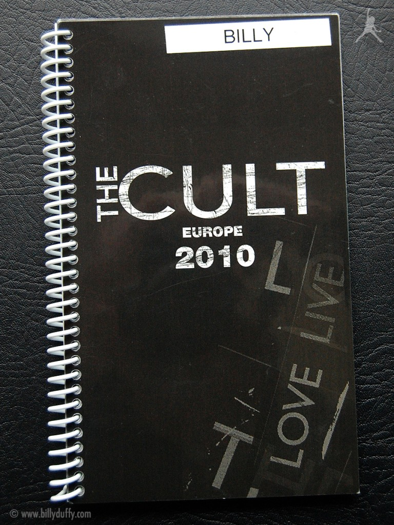 Billy's itinerary book from The Cult 'Love Live' Tour - 2010