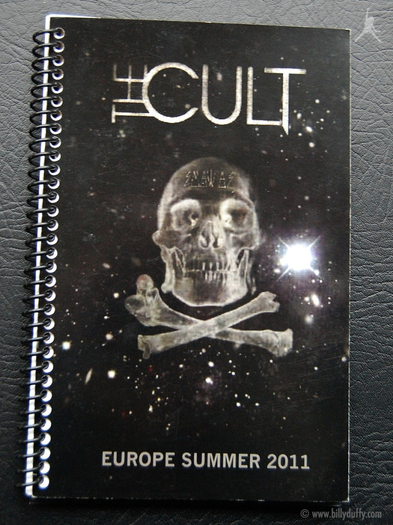 Billy's itinerary book from The Cult 'Capsules' Tour - 2011